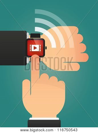 Hand Pointing A Smart Watch With A Multimedia Sign