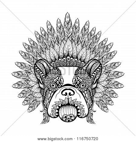 Hand Drawn French Bulldog in Feathered War bonnet in zentangle s