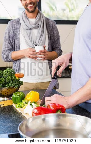 Mid section of gay couple preparing food in the kitchen