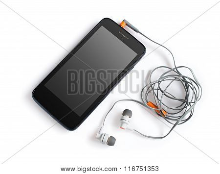 Black Smartphone And Headphones