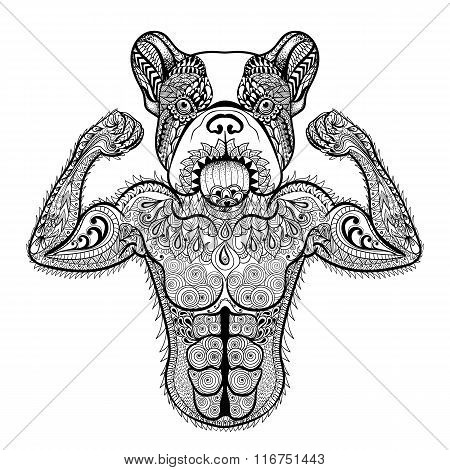 Zentangle stylized strong French Bulldog like bodybuilder. Hand