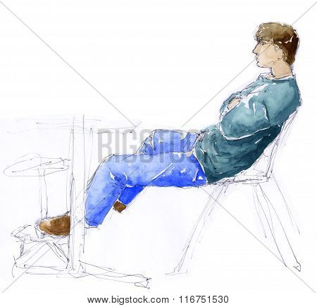 Man sitting - sketch