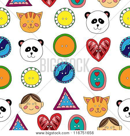 Buttons seamless pattern