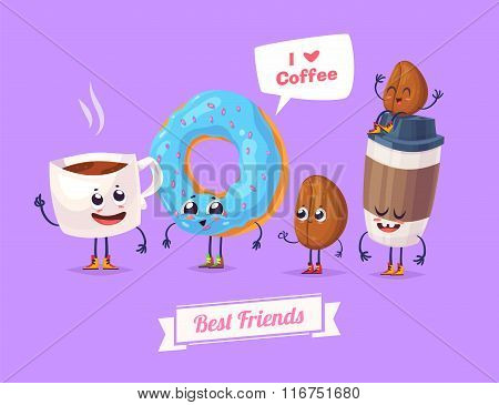 Set of breakfast characters. Vector cute cartoons