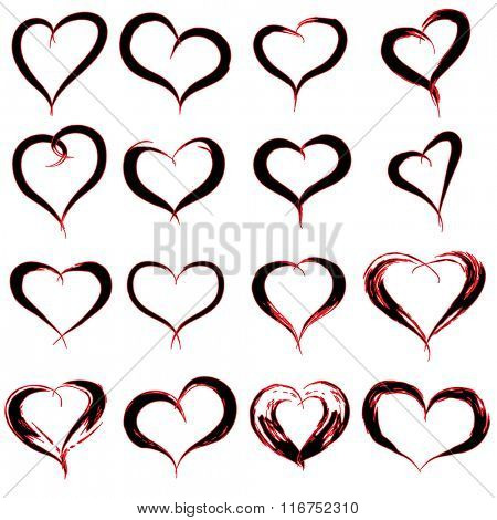 concept or conceptual painted red black heart shape or love symbol set or collection, made by a happy child at school isolated on background