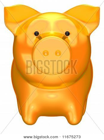 Golden Piggy Bank Front View Isolated