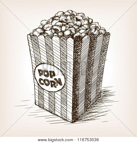 Pop corn sketch style vector illustration