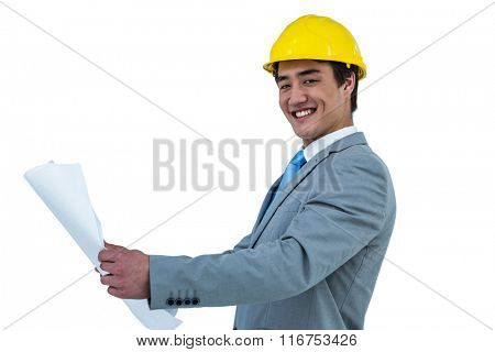 Asian businessman with site helmet and blueprint on white screen