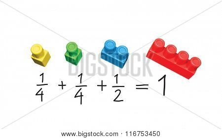 Mathematics simple exercise. Explanation on plastic blocks.