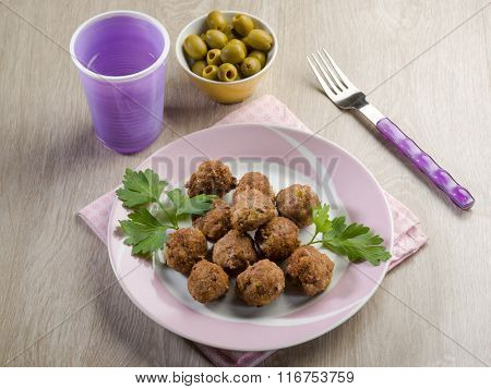 meatballs with meat and olives