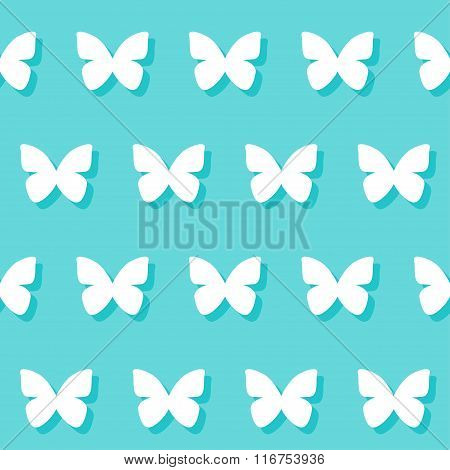 Wedding Romantic Decorative Seamless Pattern Background With Cartoon Butterfly