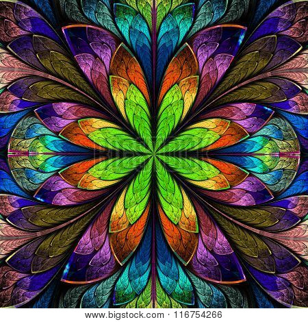 Multicolored Symmetrical Fractal Flower In Stained-glass Window Style. Artwork For Creative Design