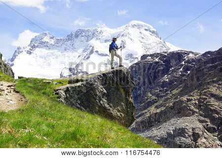 Landscape With With  Woman With Backpack., Switzerland.