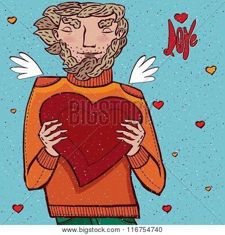 Man Holds Heart