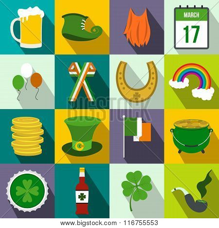 St Patrick Day flat icons