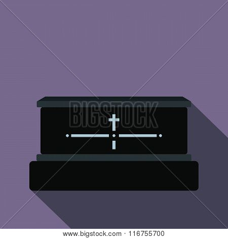 Black luxury coffin flat icon