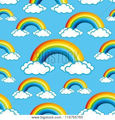 Rainbows pattern for seamless background.