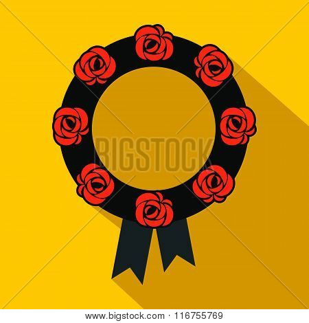 Funeral wreath flat icon
