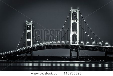 Michigan's Mackinaw Bridge Illuminated At Night