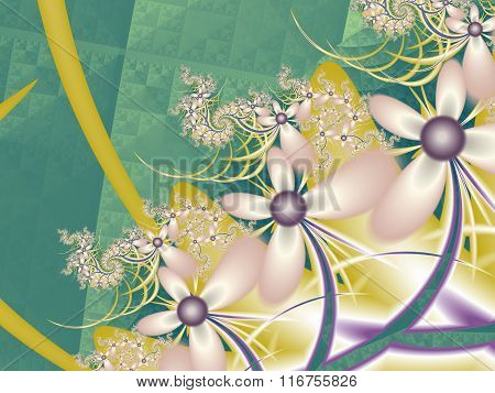Flower Pattern In Fractal Design. Green And Pink Palette. Computer Generated Graphics