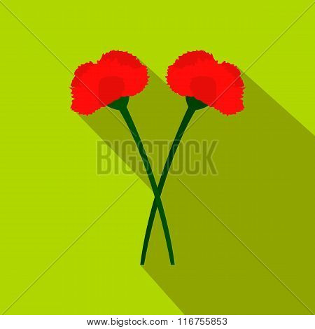 Two carnation flowers flat icon