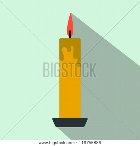 Long yellow candle flat icon