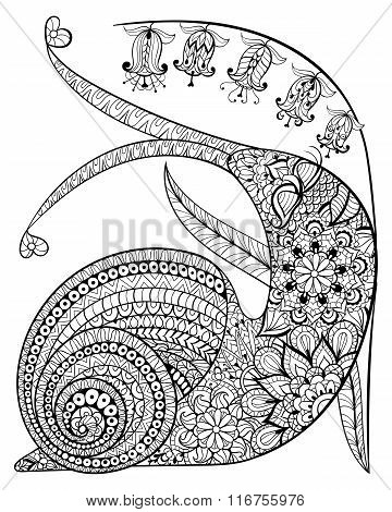 Hand drawn contented Snail and flower for adult anti stress Colo