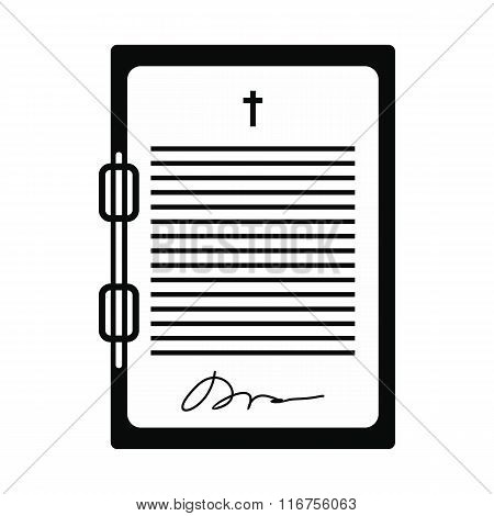 Testament letter black simple icon