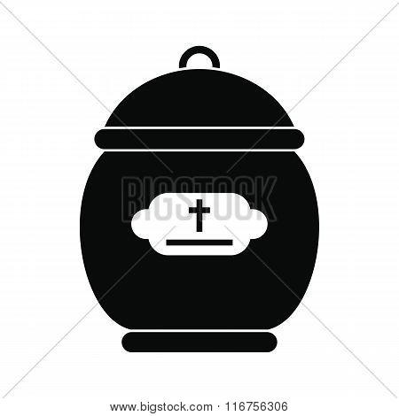 Cremation urn black icon