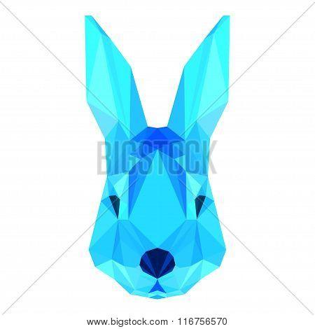 Abstract Polygonal Geometric Triangle Blue Rabbit Portrait