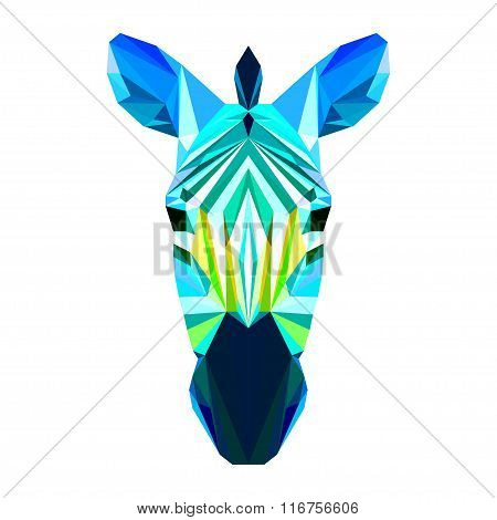 Bright Abstract Polygonal Zebra Isolated On White Background