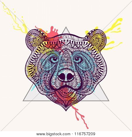 Zentangle stylized violet Bear face in triangle frame with water
