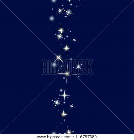 Starry line on dark blue background