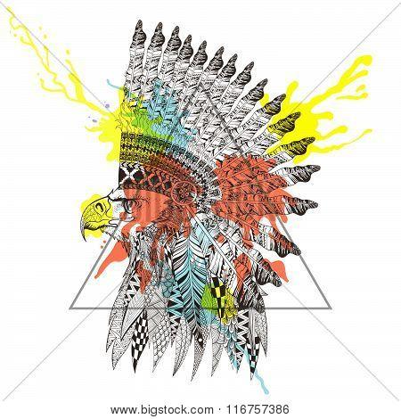 Zentangle stylized  head of eagle in feathered war bonnet in tri