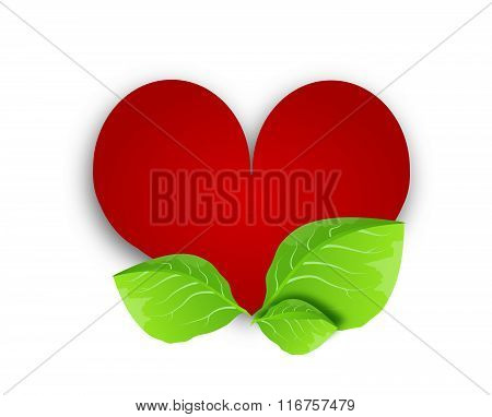 Red Heart With Green Leaves