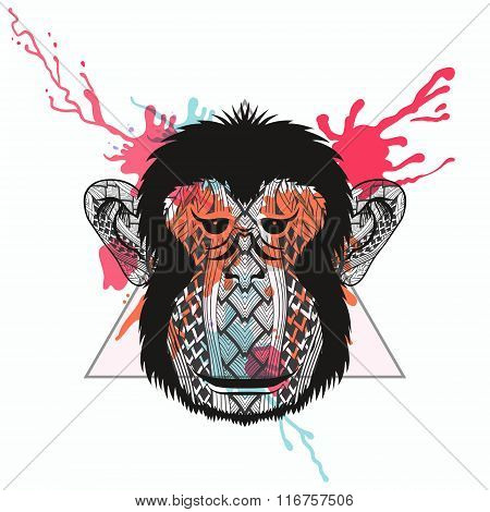 Zentangle stylized Monkey face in triangle frame with watercolor