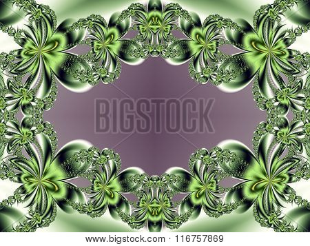Flower Pattern In Fractal Design. Green And Violet. Computer Generated Graphics.