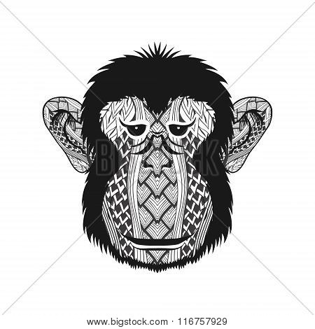 Zentangle stylized head Monkey face. Hand Drawn doodle vector il