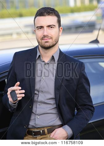 Beautiful Man With The Key Of His Car