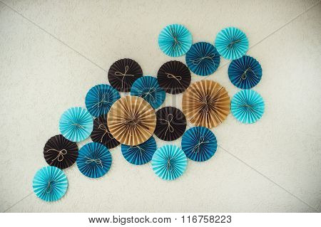 Abstract Colorful Decor Paper Circles On The Wall