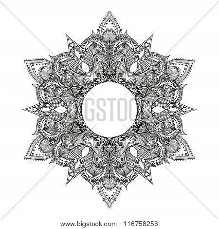 Zentangle stylized Round Indian Mandala.  Hand drawn vintage Orn