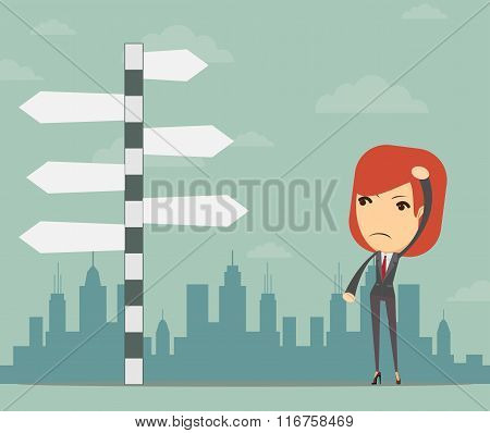 Businesswoman in front of a choice
