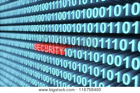 Blue binary code security concept