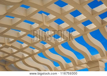 Stone Roof Grating Gazebo And Blue Sky