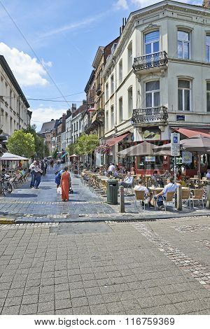 Typical Daily Lunch Time Scene In Brussels
