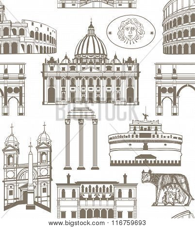 vector seamless background with landmarks of Rome