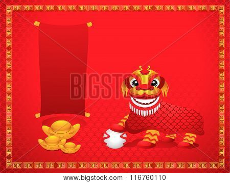 Lion Dancing With Chinese New Year Background