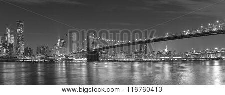 Brooklyn Bridge And Manhattan At Night, New York City, Usa