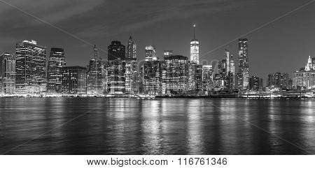Black And White Picture Of Manhattan At Night, Usa