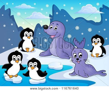 Seals and penguins theme image 2 - eps10 vector illustration.